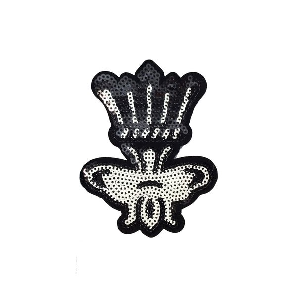 PC4076 - Sequin Black White Bee Crown (Iron On)
