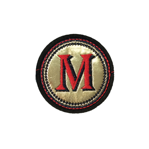 PC4087 - Golden Red Letter M (Iron On)