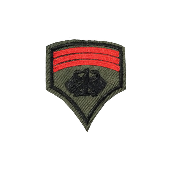 PT1260B - Army Green Red Stripes Badge (Iron on)