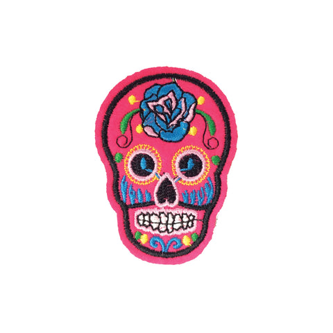 PC3490B - Neon Pink Sugar Skull (Iron On)