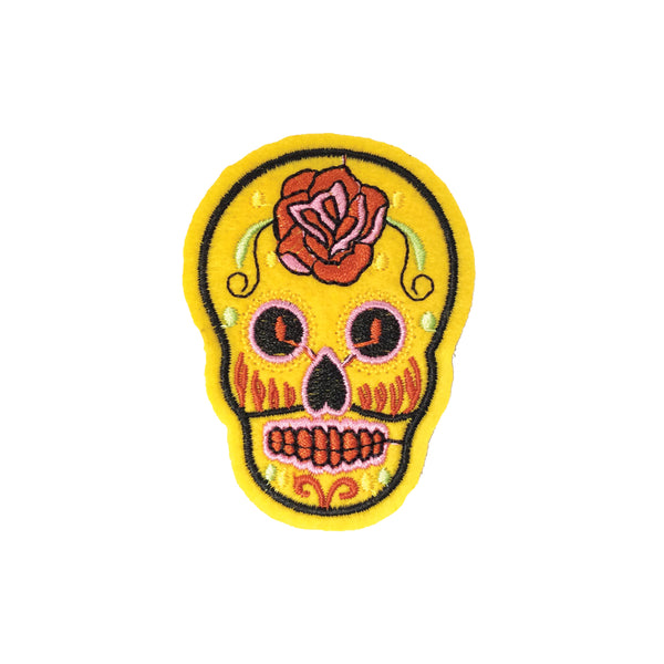PC3490C - Yellow Sugar Skull (Iron On)