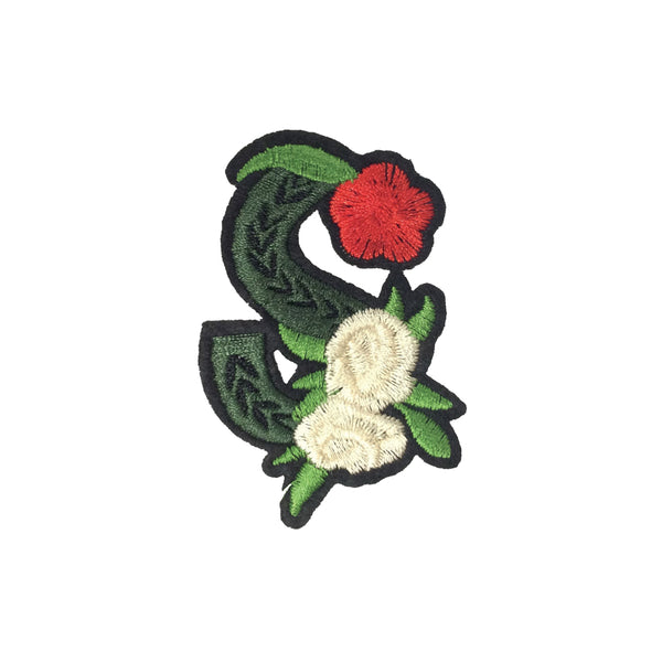 PC3503S - Green Flower Letter S (Iron On)