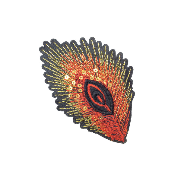 PC3201D - Peacock Red Gold Eye Feather (Iron On)