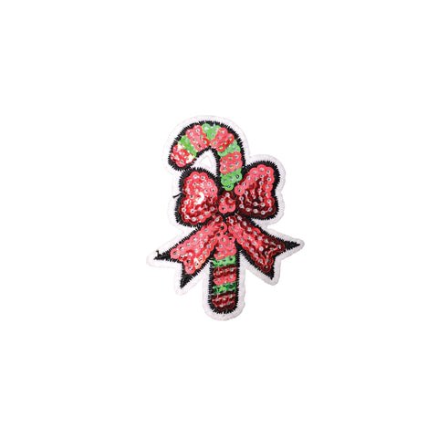 PC3545 - Sequin Christmas Candy Cane Stick Rock (Iron On)