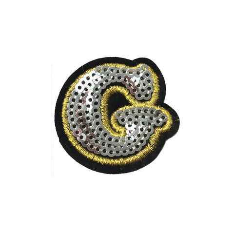 PC4001G - Sequin Silver Letter G (Iron On)