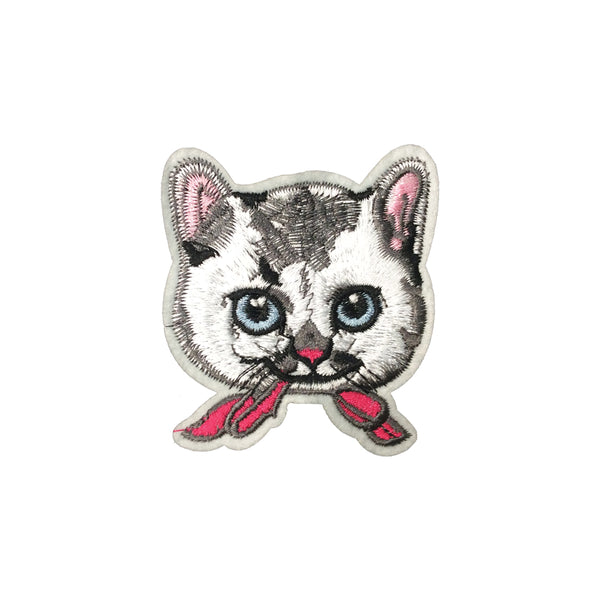 PC3844 - Cute White Cat Head Pink Ribbon (Iron On)