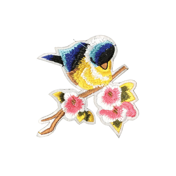 PC2265 - Blue Bird with Flower cherry Blossom (Iron On)