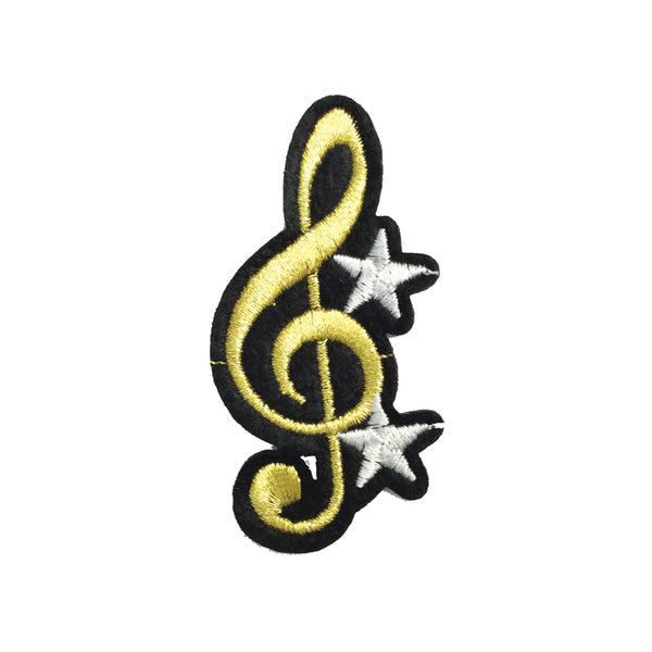 PC3441 - Gold Music Note Silver Star (Iron On)