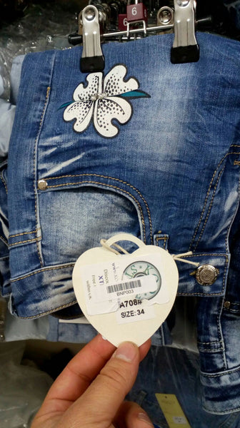 Flower Sticker Patched Jean Brand New BN00708