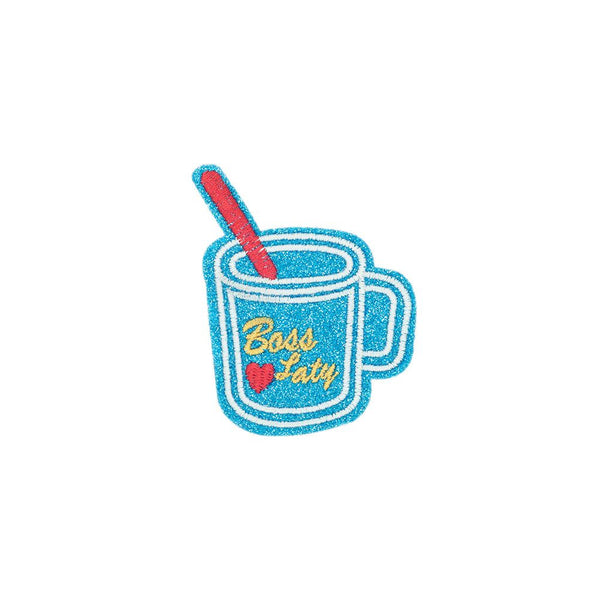 PC2694 - Blue Glitter Boss Lady Drink Cup (Iron On)
