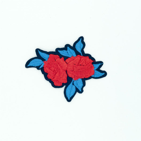 PC2702 - Red Rose Flower with Blue Leaves (Iron On)