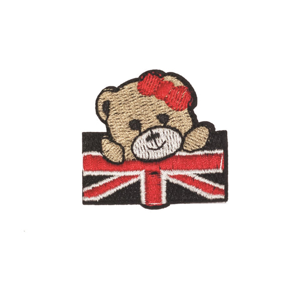 PC2306 - Cute Bear with union jack small (Iron on)