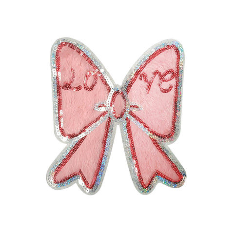 PC4182 - Pink Fur Love Bow Ribbon (Sew On)