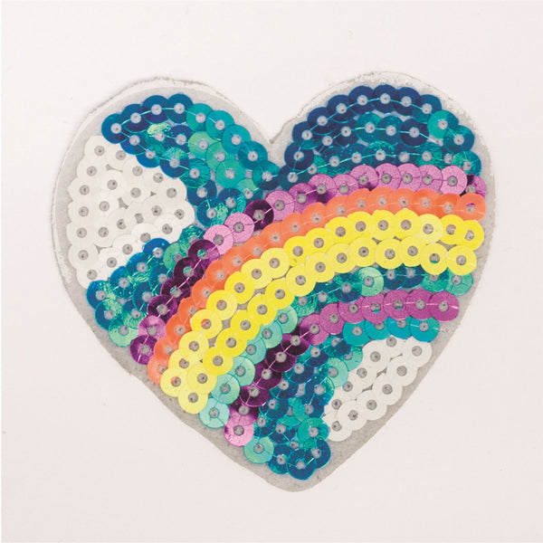 PC2300 - Sequin Rainbow Sky Heart (Iron on)
