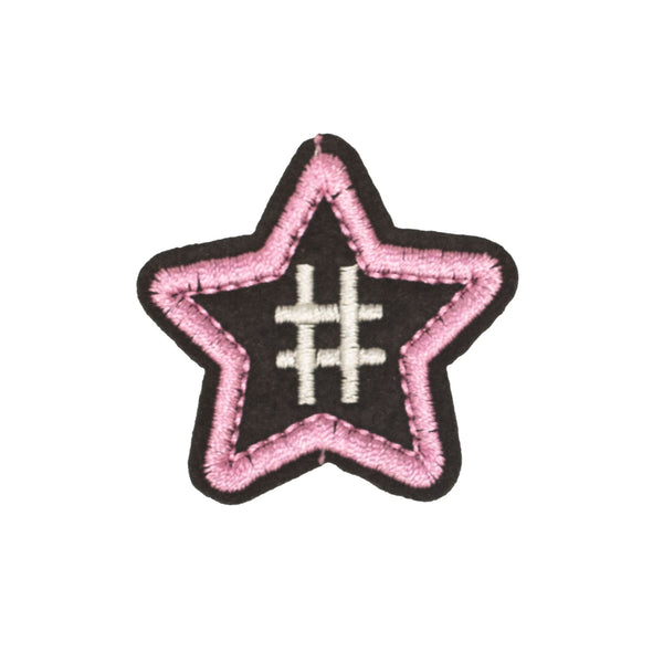 PC2298 - Pink Black Star with Hashtag (Iron on)