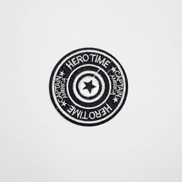 pc2190 hero time star round badge iron on embroidery applique