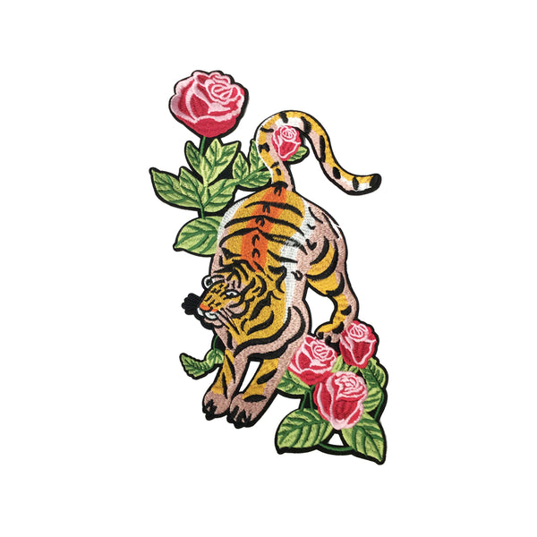 PC3570 - Tiger in Pink Flowers L (Iron On)