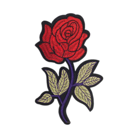 PC2458 - Blue branch Red Rose Flower (Iron On)