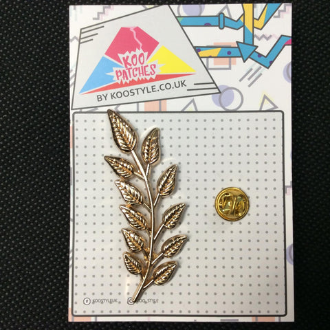 MP0127 - Gold Long Leaf Branch Metal Pin Badge