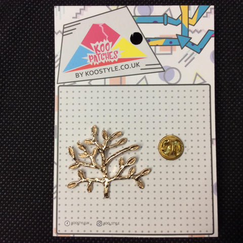 MP0009B - Gold Leaves Golden Tree Metal Pin Badge