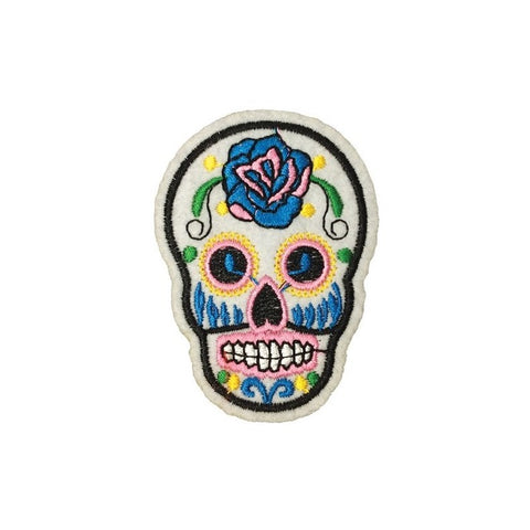 PC3490E - Pale Blue Sugar Skull (Iron On)