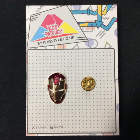MP0163 - Red Gold Iron Man Mask Super Hero Metal Pin Badge