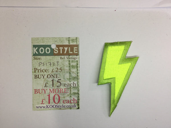 Ps neon yellow lightning iron on embroidery applique patch