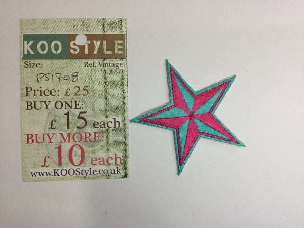 Ps1708 neon pink blue star iron on embroidery applique patch