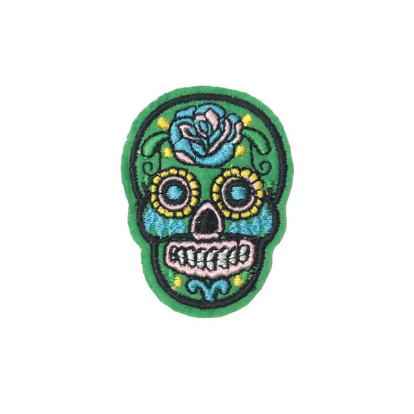 PC3490F - Green Sugar Skull (Iron On)