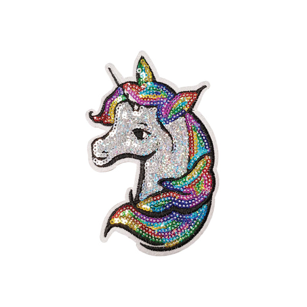PC4181 - Silver Sequin Rainbow Hair Unicorn (Iron On)