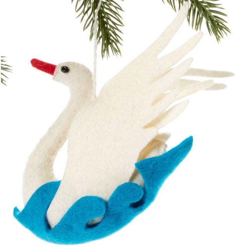 Swan Felt Holiday Ornament - Silk Road Bazaar (O)