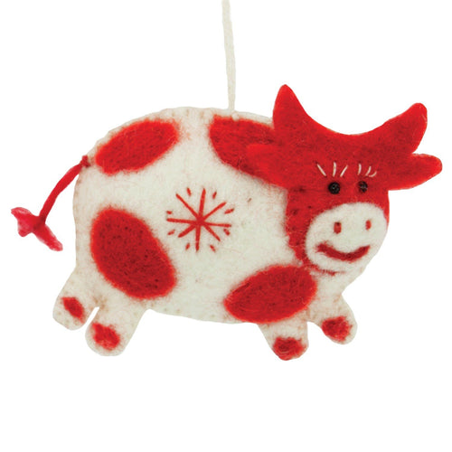 White Felt Cow Ornament - Wild Woolies (H)