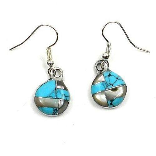 Turquoise and Abalone Slices Alpaca Silver Earrings Handmade and Fair Trade