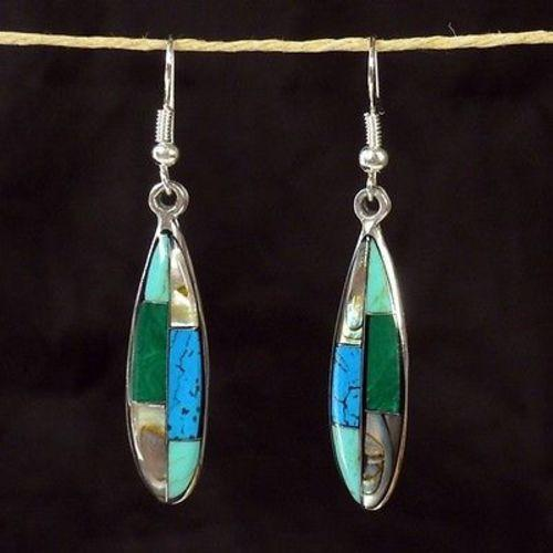 Turquoise, Abalone, and Malachite Ellipse Alpaca Silver Earrings Handmade and Fair Trade