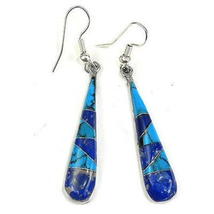 Turquoise and Lapis Tear Drop Earrings Handmade and Fair Trade