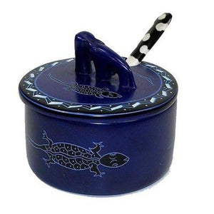 Soapstone Sugar Bowl with Bone Spoon - Blue Handmade and Fair Trade
