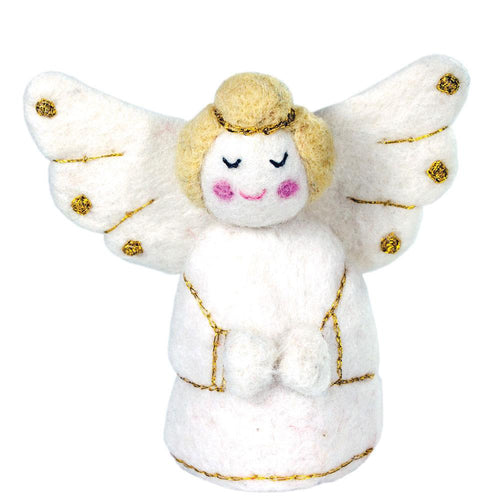 White Golden Angel Felt Ornament - Wild Woolies (H)