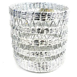 Open Weave Waste Basket Silver White - Jeevankala (Basket)