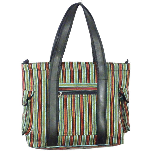 Striped Tote with Tire Straps - Jeevankala (B)