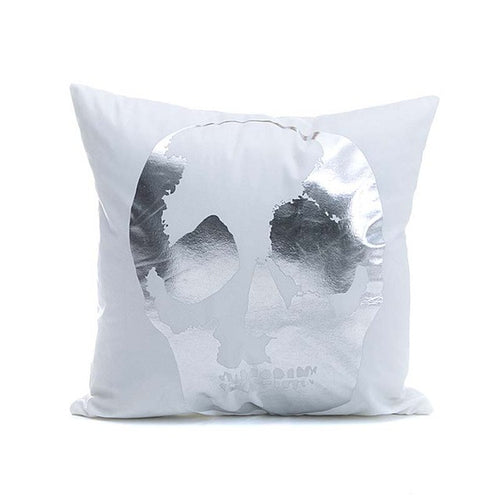 Silver Printed Skull Cushion Cover