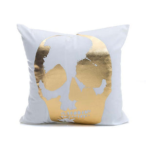 Gold Printed Skull Cushion Cover