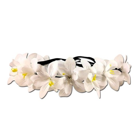 Light Up White Flower Crown with Rainbow Lights