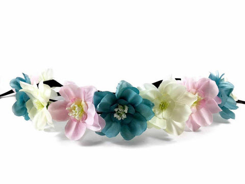 Light Up Blue Cream Pink Flower Crown