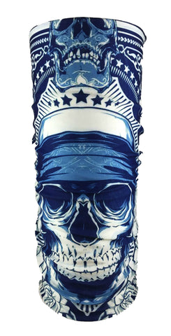 Blue Skull Rave Bandana Multifunctional Seamless Mask