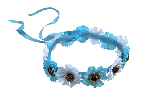 Light Up White & Blue Hippy Flower Crown with 3 Modes