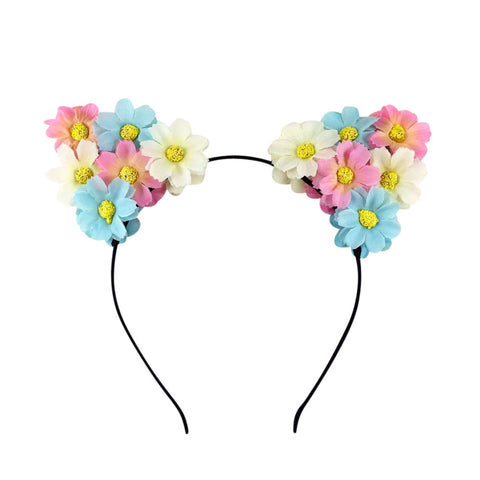 Light Up Cat Ears Flower Headband (White/Blue/Pink)