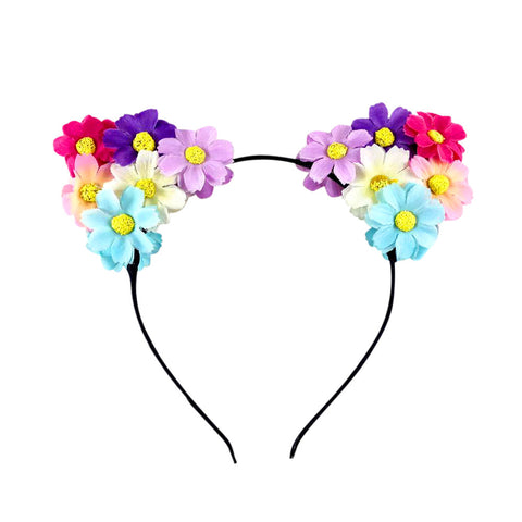 Light Up Cat Ears Flower Headband (White/Blue/Pink/Purple)