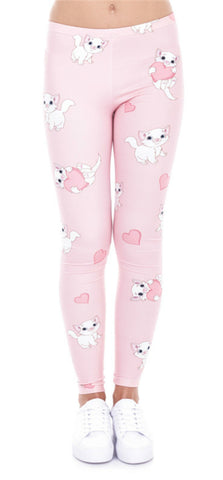 Kitten Heart Printed Leggings