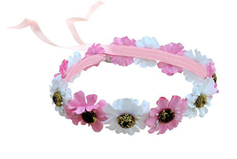 Light Up White & Pink Hippy Flower Crown