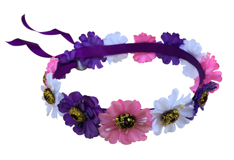 Light Up White/Purple/Pink Hippy Flower Crown